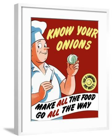 Vintage World War II Poster of a Chef Holding An Onion with a Tear in His Eye-Stocktrek Images-Framed Photographic Print