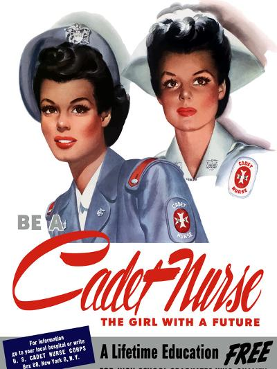 Vintage World War II Poster of Two Smiling Young Nurses-Stocktrek Images-Photographic Print