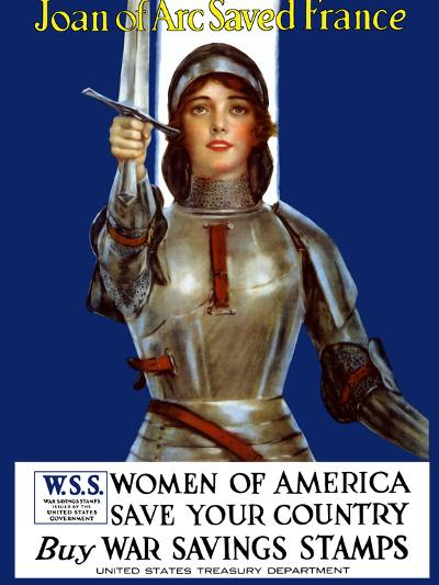 Vintage World War One Poster of Joan of Arc Wearing Armor, Raising a Sword-Stocktrek Images-Photographic Print