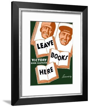 Vintage WPA Poster of Several Books And the Faces of a Soldier And a Sailor-Stocktrek Images-Framed Photographic Print