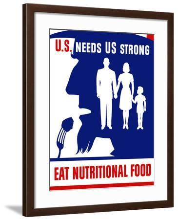 Vintage WPA Poster of Uncle Sam Taking a Bite of Food-Stocktrek Images-Framed Photographic Print