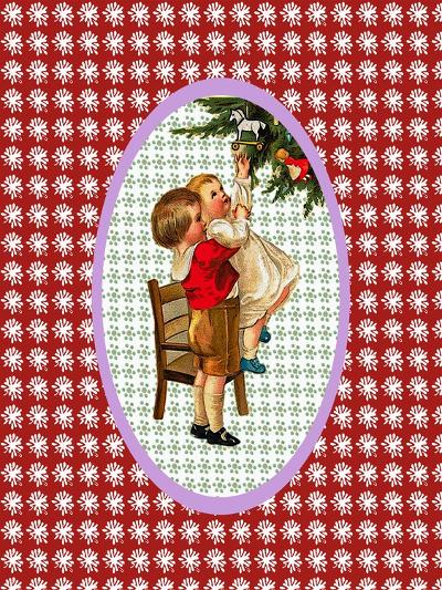 Vintage Xmas Children and Tree-Effie Zafiropoulou-Giclee Print