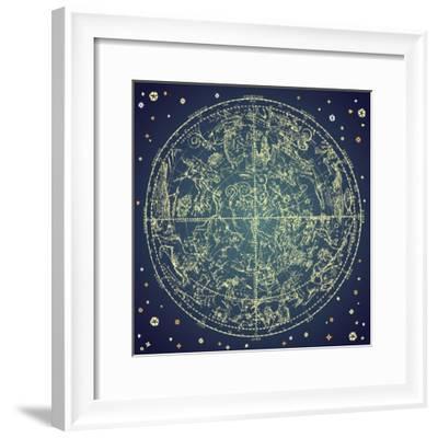 Vintage Zodiac Constellation Of Northern Stars-Alisa Foytik-Framed Premium Giclee Print