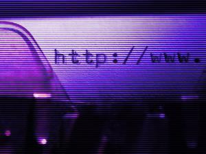 Violet Blue Web Address Typed on Old-Fashioned Typewriter