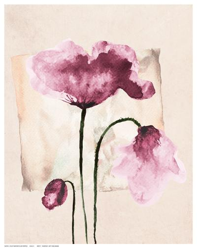 Violet Watercolor Poppies-Z. Olga-Art Print