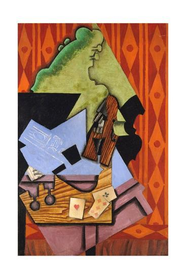 Violin and Playing Cards on a Table-Juan Gris-Giclee Print