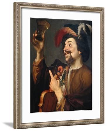 Violin Player with Glass of Wine-Gerrit van Honthorst-Framed Giclee Print