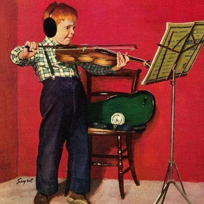 """Violin Practice"", February 5, 1955-Richard Sargent-Giclee Print"