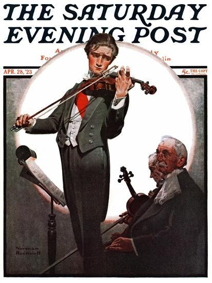 """Violin Virtuoso"" Saturday Evening Post Cover, April 28,1923-Norman Rockwell-Giclee Print"