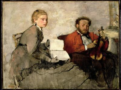 Violinist and Young Woman, C.1871 (Oil and Crayon on Canvas)-Edgar Degas-Giclee Print