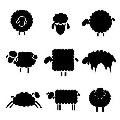Black Silhouette of Sheeps