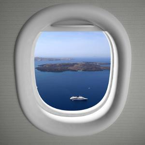 Airplanes Window Seat View with Sea Scape and Islands by viperagp