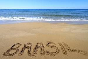 Brasil Written On Sandy Beach by viperagp