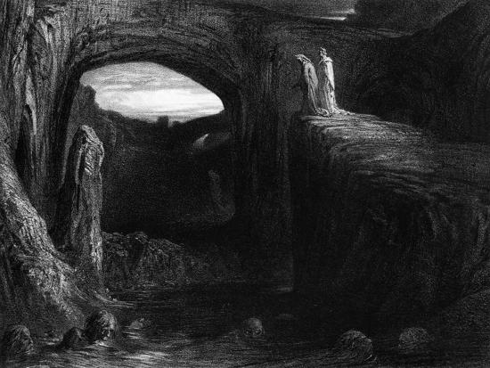 """Virgil (70-19 BC) and Dante Entering Hell, Illustration from """"The Divine Comedy""""-Gustave Dor?-Premium Giclee Print"""
