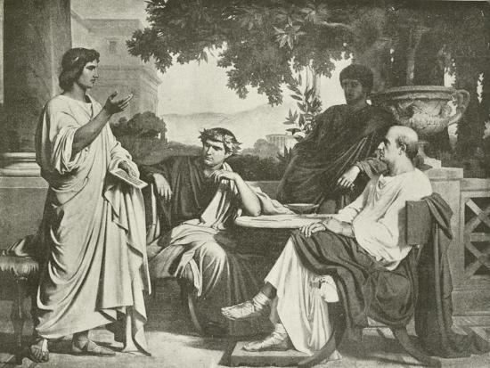 Virgil, Horace and Varius at the House of Maecenas-Charles Francois Jalabert-Giclee Print