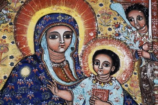 Virgin and Child, Detail, Fresco, Church of Narga Selassie--Giclee Print