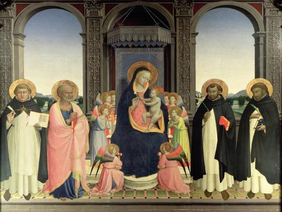 Virgin and Child Enthroned, Angels and St. Aquinas, St. Barnabas, St. Dominic and St. Peter, c.1422-Fra Angelico-Giclee Print
