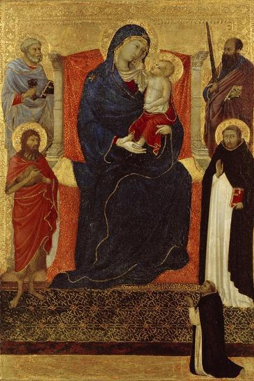 Virgin and Child Enthroned with Saints Peter, Paul, John the Baptist, Dominic and a Donor, 1325-35-Ugolino Di Nerio-Giclee Print