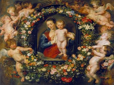 Virgin and Child in a Garland. the Garland by Jan Brueghel D.Ae. (1568-1625), about 1616/17-Peter Paul Rubens-Giclee Print