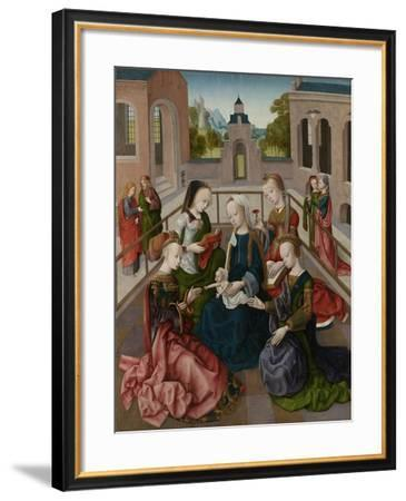 Virgin and Child with Four Holy Virgins- Master of the Virgo Inter Virgines-Framed Art Print