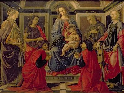 Virgin and Child with SS. Mary Magdalene, John The Baptist, Cosmo, Damian, Francis and Catherine-Sandro Botticelli-Giclee Print