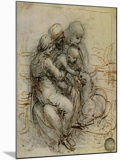 Virgin and Child with St. Anne-Leonardo da Vinci-Mounted Giclee Print