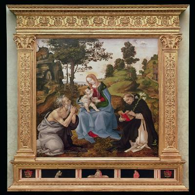 Virgin and Child with St. Jerome and St. Dominic (Oil and Tempera on Panel)-Filippino Lippi-Giclee Print