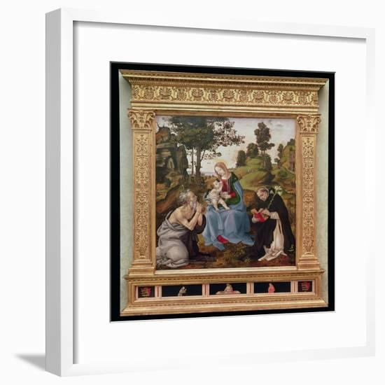 Virgin and Child with St. Jerome and St. Dominic (Oil and Tempera on Panel)-Filippino Lippi-Framed Giclee Print