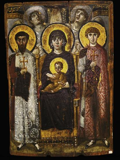 Virgin and Child with Two Saints, Byzantine Icon--Giclee Print