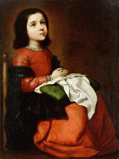 Virgin Mary as a Child-Francisco de Zurbaran-Giclee Print