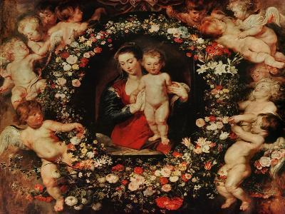 Virgin with a Garland of Flowers, circa 1618-20-Peter Paul Rubens-Giclee Print