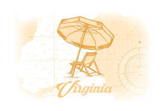 Virginia - Beach Chair and Umbrella - Yellow - Coastal Icon-Lantern Press-Art Print