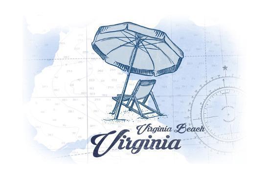 Virginia Beach, Virginia - Beach Chair and Umbrella - Blue - Coastal Icon-Lantern Press-Art Print