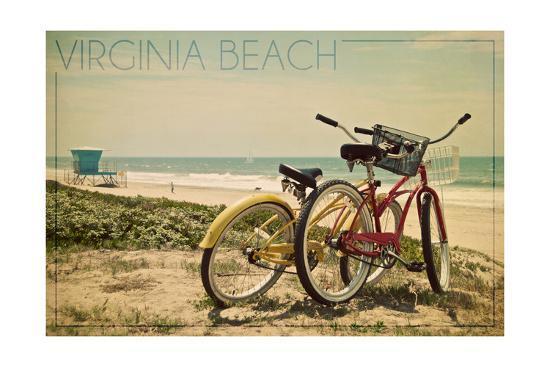 Virginia Beach, Virginia - Bicycles and Beach Scene-Lantern Press-Art Print