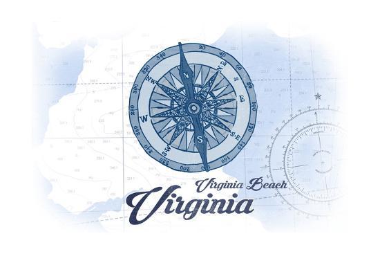 Virginia Beach, Virginia - Compass - Blue - Coastal Icon-Lantern Press-Art Print