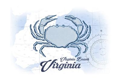Virginia Beach, Virginia - Crab - Blue - Coastal Icon-Lantern Press-Art Print