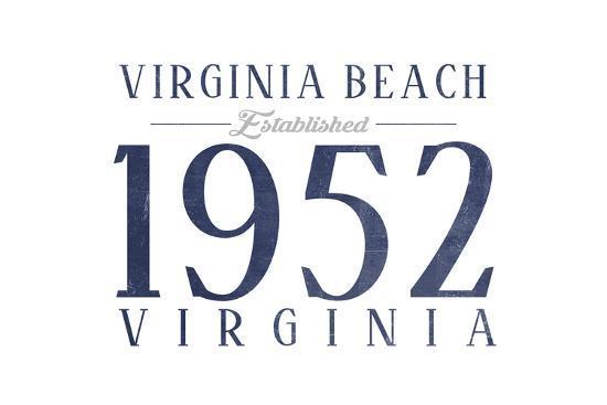 Virginia Beach, Virginia - Established Date (Blue)-Lantern Press-Art Print
