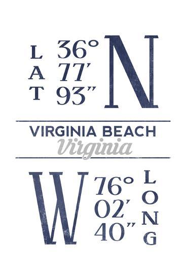 Virginia Beach, Virginia - Latitude and Longitude (Blue)-Lantern Press-Art Print