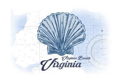 Virginia Beach, Virginia - Scallop Shell - Blue - Coastal Icon-Lantern Press-Art Print
