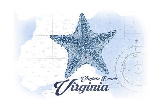 Virginia Beach, Virginia - Starfish - Blue - Coastal Icon-Lantern Press-Art Print