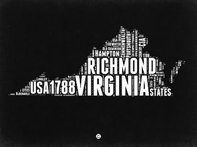 Virginia Black and White Map-NaxArt-Art Print