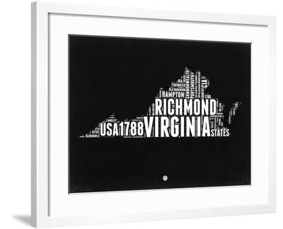 Virginia Black and White Map-NaxArt-Framed Art Print