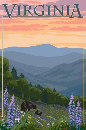 Virginia - Black Bear and Cubs Spring Flowers-Lantern Press-Art Print