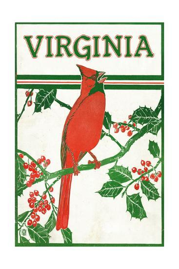 Virginia - Cardinal Perched on a Holly Branch-Lantern Press-Art Print