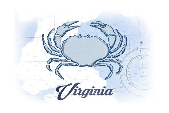 Virginia - Crab - Blue - Coastal Icon-Lantern Press-Art Print