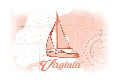 Virginia - Sailboat - Coral - Coastal Icon-Lantern Press-Art Print