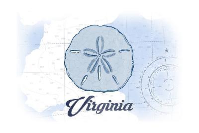 Virginia - Sand Dollar - Blue - Coastal Icon-Lantern Press-Art Print