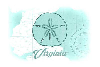 Virginia - Sand Dollar - Teal - Coastal Icon-Lantern Press-Art Print