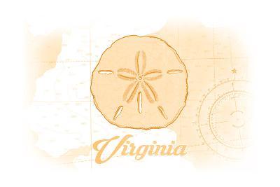 Virginia - Sand Dollar - Yellow - Coastal Icon-Lantern Press-Art Print
