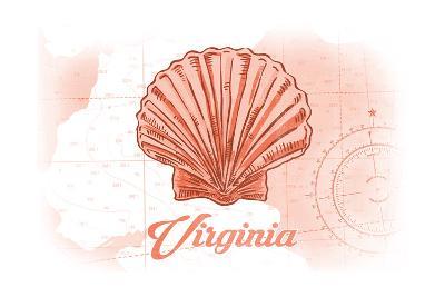 Virginia - Scallop Shell - Coral - Coastal Icon-Lantern Press-Art Print